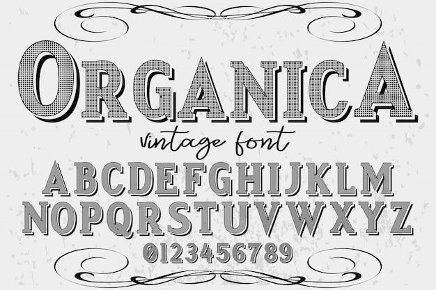 Alfabeto etiqueta diseño organica