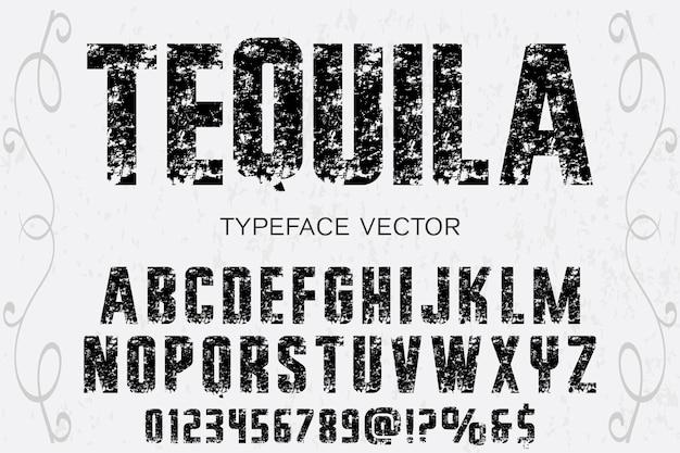 Alfabeto etiqueta diseño tequla