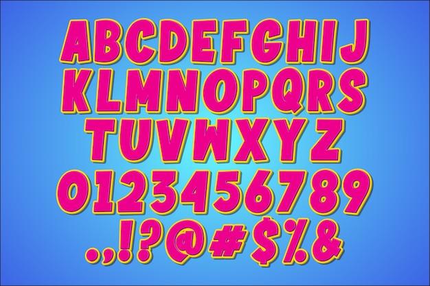 Alfabeto de fantasía retro pop art