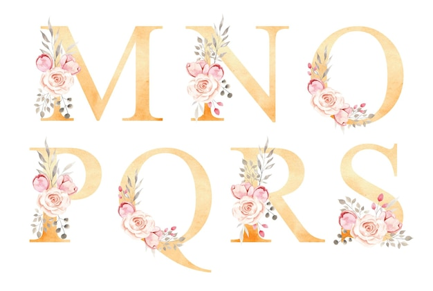 Alfabeto floral acuarela