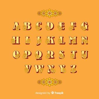 Alfabeto floral en estilo años 60 sobre fondo naranja