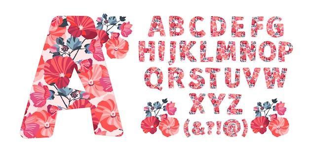 Alfabeto floral de la a a la z. letras con flores. caracteres capitales. monograma botánico. naranja, rojo, granate, flores de malva de color coral, brotes, ramitas, hojas en forma de letra en negrita.