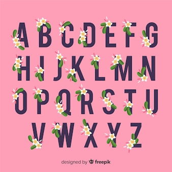 Alfabeto de flores en diseño plano