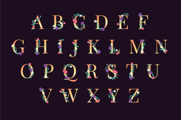Alfabeto con flores elegantes y diseño dorado.