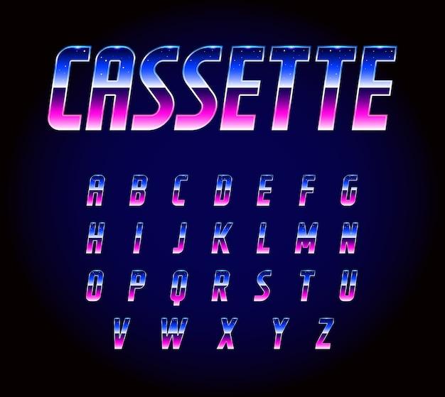 Alfabeto de fuente de ciencia ficción futurista retro de los 80