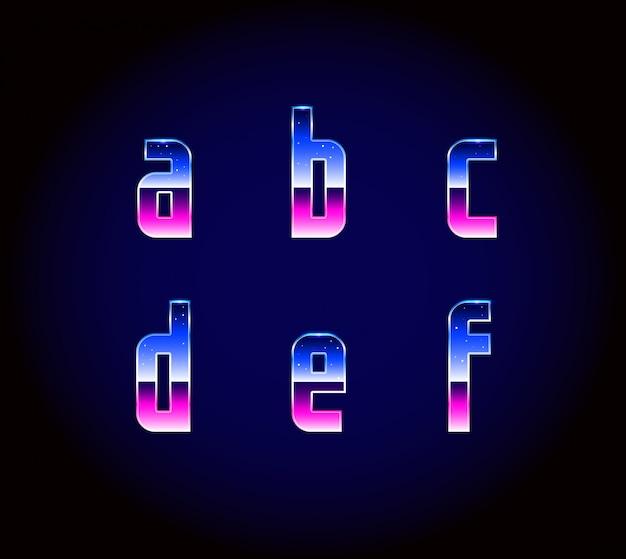 Alfabeto de fuente de ciencia ficción retro futurista de los años 80