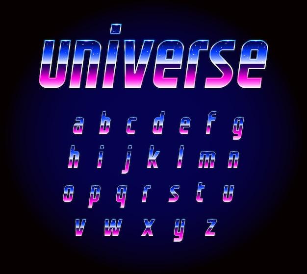 Alfabeto de fuente de ciencia ficción retro futurista