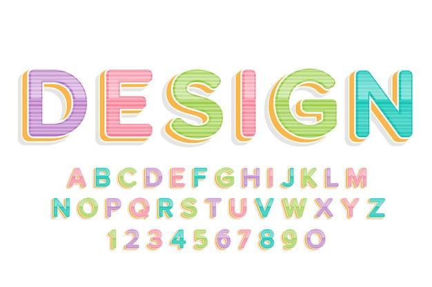Alfabeto y fuente colorida linda decorativa