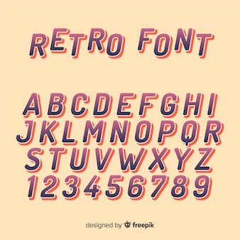 Alfabeto de fuente en estilo retro