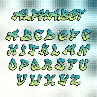 Alfabeto de fuente grunge graffity