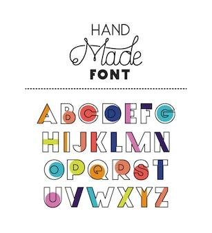 Alfabeto de fuente hecha a mano