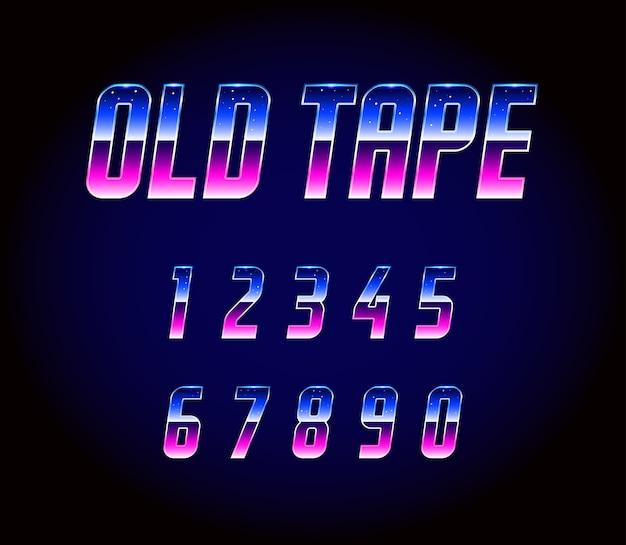 Alfabeto de fuente retro de los 80
