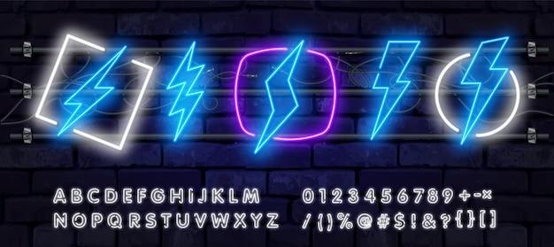 Alfabeto de fuente y símbolo de trueno en efecto neón