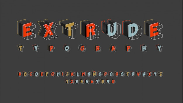 Alfabeto futurista con efecto dimensional