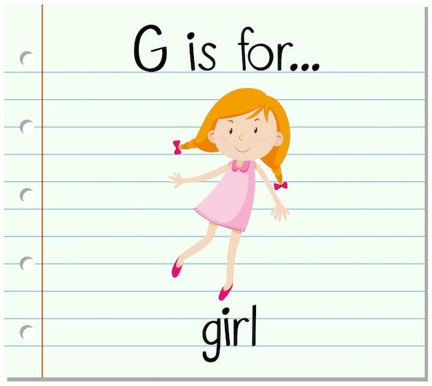 El alfabeto g de la flashcard es para niña