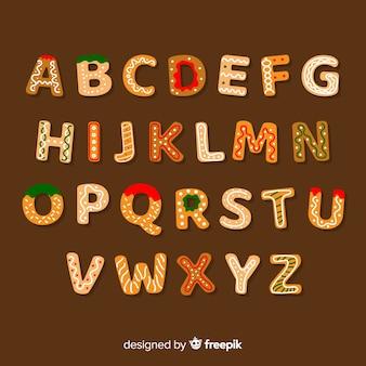Alfabeto de galleta de jengibre en diseño plano