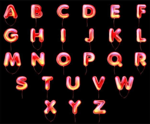 Alfabeto de globo metálico rojo de halloween