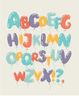Alfabeto de globos de colores y aislados