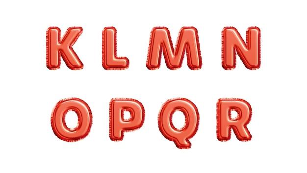 Alfabeto de globos de lámina metálica de oro rojo realista aislado sobre fondo blanco. klmnopqr