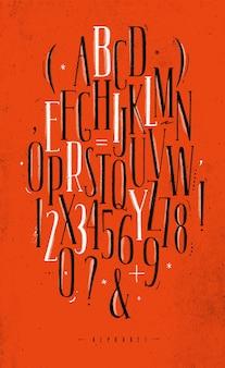 Alfabeto gótico fuente rojo