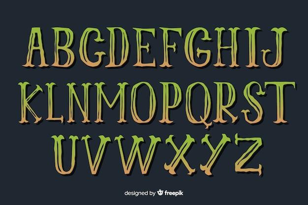 Alfabeto de halloween gradiente vintage