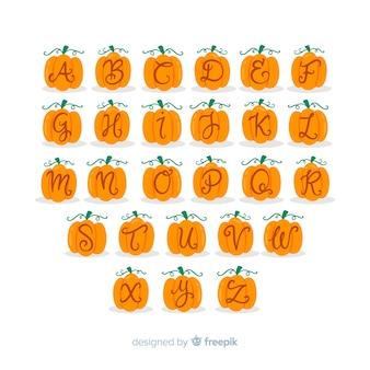 Alfabeto de halloween letras de calabaza