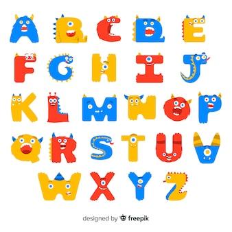 Alfabeto de halloween con letras de monstruo