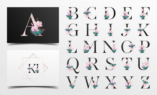 Alfabeto con hermosa acuarela floral decorativa