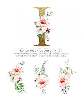 Alfabeto i con ramos de flores colección acuarela.