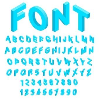 El alfabeto con los iconos de los números fijó en el estilo isométrico 3d. fuente de inglés establece ilustración de vector de colección