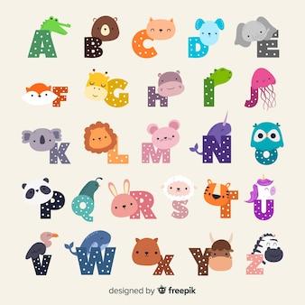 Alfabeto ilustrado de zoológico de dibujos animados lindo con divertidos animales