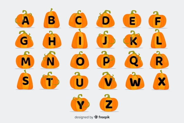 Alfabeto infantil de calabaza de halloween