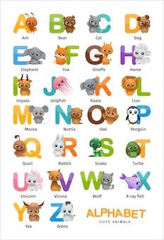 Alfabeto inglés de animales lindos