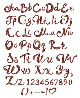 Alfabeto inglés chocolate brown letras manuscritas y números sobre fondo blanco