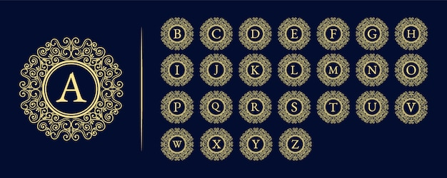 Alfabeto inicial o letra arte retro del emblema del monograma del logotipo de la belleza femenina de lujo vintage