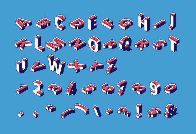 Alfabeto isométrico, abc, números y puntuación letras mayúsculas, tipografía tipográfica