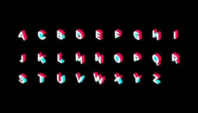 Alfabeto isométrico de color TikTok