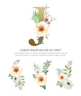 Alfabeto j con ramos de flores colección acuarela.