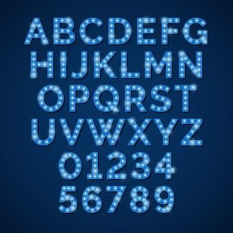 Alfabeto de lámpara de neón azul