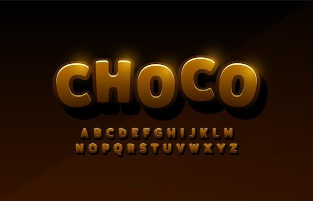 Alfabeto latino de chocolate diseños tipográficos de logos cómicos.
