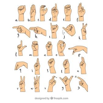 Alfabeto de lenguaje de signos dibujado a mano