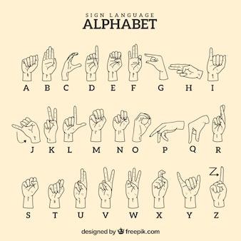 Alfabeto de lenguaje de signos en estilo hecho a mano