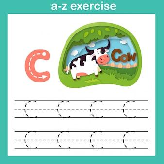 Alfabeto letra c ejercicio de vaca, papel cortado concepto vector illustration