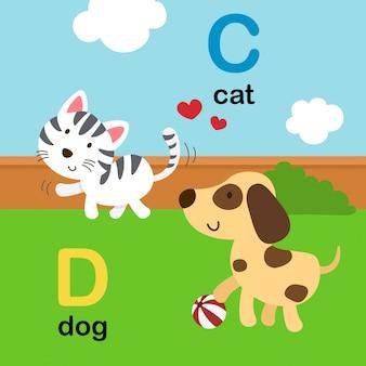 Alfabeto letra c para gato, d para perro, ilustración