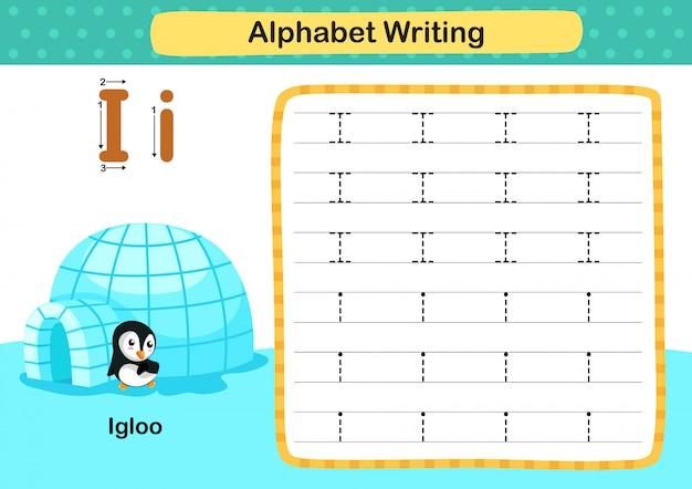 Alfabeto letra i-igloo ejercicio con ilustración de vocabulario de dibujos animados
