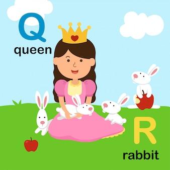 Alfabeto letra q para reina, r para conejo, ilustración