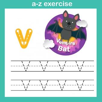 Alfabeto letra v-vampiro bate ejercicio, ilustración de vector de concepto de corte de papel