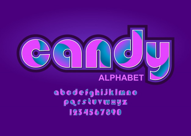 Alfabeto letras, fuente de caramelo con colores lindos rosa y púrpura