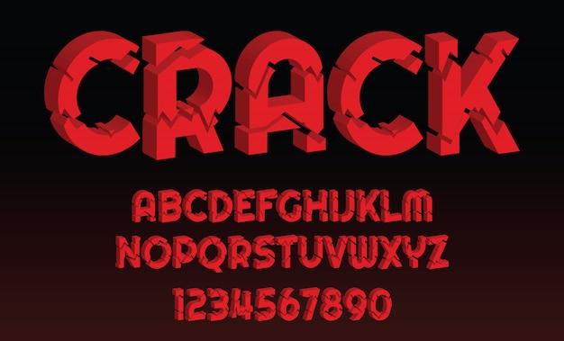 Alfabeto de letras y números de diseño de fuente de crack