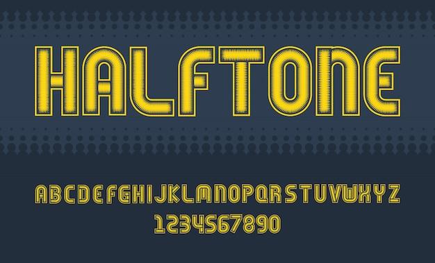 Alfabeto de letras y números de diseño de fuente de semitono